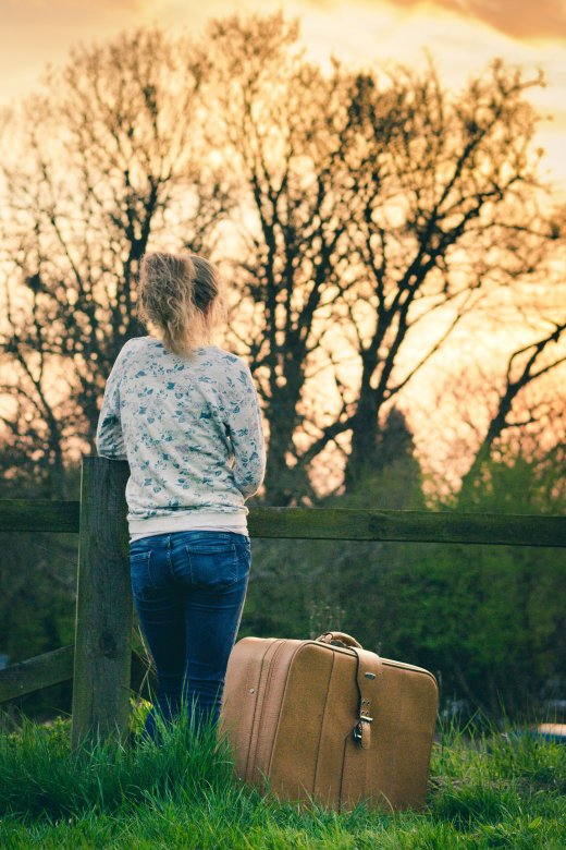 Lady with suitcase
